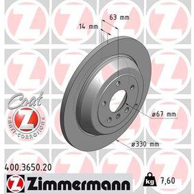 ZIMMERMANN COAT Z 400.3650.20 Спирачен диск Ø: 330мм