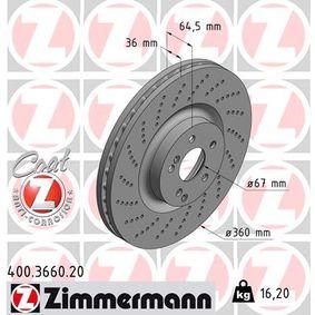 Brake Disc 400.3660.20 E-Class Saloon (W212) E 500 4.7 4-matic (212.091) MY 2015