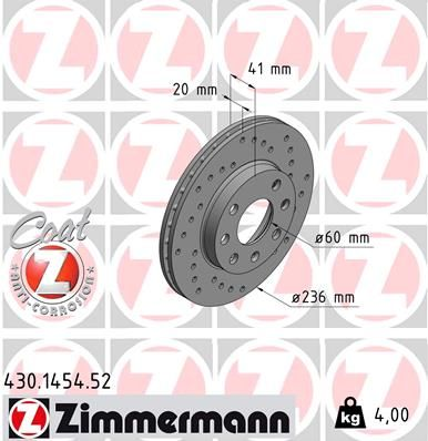 ZIMMERMANN SPORT COAT Z 430.1454.52 Bremsscheibe Bremsscheibendicke: 20mm, Felge: 4-loch, Ø: 236mm