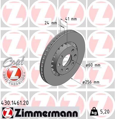 ZIMMERMANN COAT Z 430.1461.20 Bremsscheibe Bremsscheibendicke: 24mm, Felge: 4-loch, Ø: 256mm