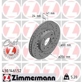 Bremsscheibe Bremsscheibendicke: 24mm, Felge: 4-loch, Ø: 256mm mit OEM-Nummer 93182282