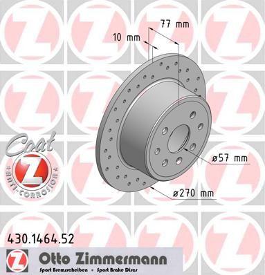ZIMMERMANN SPORT COAT Z 430.1464.52 Bremsscheibe Bremsscheibendicke: 10mm, Felge: 4-loch, Ø: 270mm
