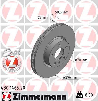 ZIMMERMANN COAT Z 430.1465.20 Bremsscheibe Bremsscheibendicke: 28mm, Felge: 5-loch, Ø: 296mm
