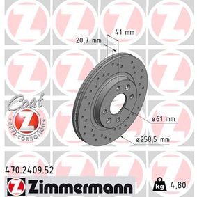 Bremsscheibe 470.2409.52 TWINGO 2 (CN0) 1.2 TCe 100 Bj 2020