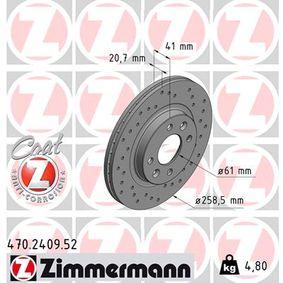 Bremsscheibe Bremsscheibendicke: 21mm, Felge: 4-loch, Ø: 259mm mit OEM-Nummer 77.01.205.653