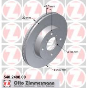 Regulador de Presión de Combustible SUZUKI BALENO Fastback (EG) 1.6 i 16V 4x4 de Año 07.1995 98 CV: Disco de freno (540.2488.00) para de ZIMMERMANN
