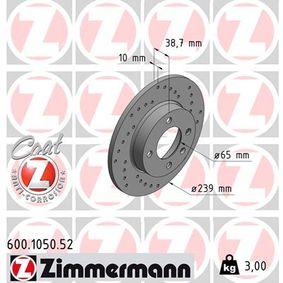 Bremsscheibe Bremsscheibendicke: 10mm, Lochanzahl: 4, Ø: 239mm mit OEM-Nummer 811615301C