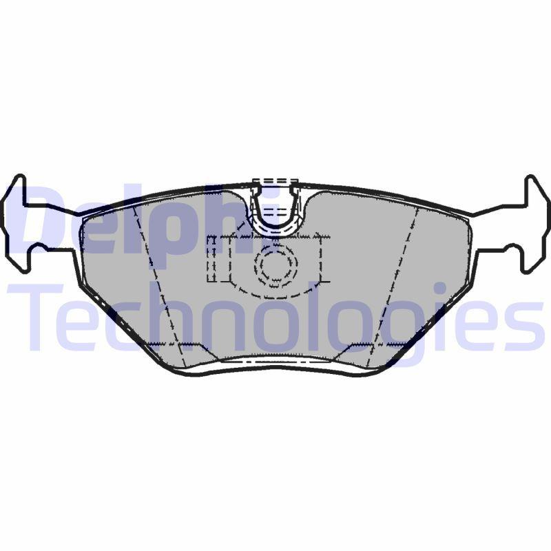 DELPHI  LP1107 Bremsbelagsatz, Scheibenbremse Höhe: 45mm, Dicke/Stärke 1: 17mm