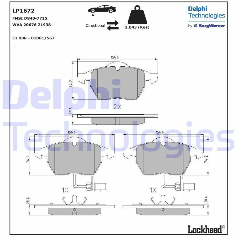 DELPHI  LP1672 Brake Pad Set, disc brake Height 2: 74mm, Height: 74mm, Thickness 1: 20mm, Thickness 2: 20mm