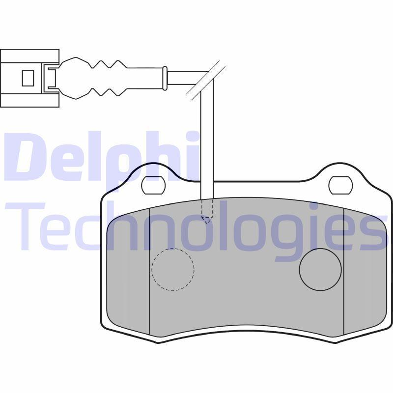DELPHI  LP1753 Bremsbelagsatz, Scheibenbremse Höhe 2: 69mm, Höhe: 69mm, Dicke/Stärke 1: 15mm, Dicke/Stärke 2: 15mm