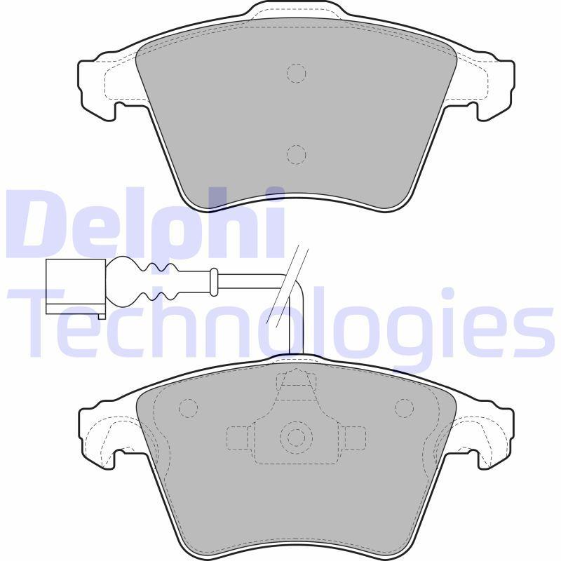 DELPHI  LP1950 Bremsbelagsatz, Scheibenbremse Höhe 2: 75mm, Höhe: 74mm, Dicke/Stärke 1: 20mm