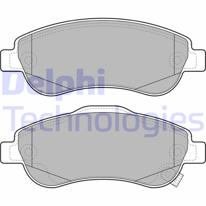 DELPHI  LP2093 Bremsekloss sett Bredde 1: 151mm, Bredde 2: 151mm, høyde 1: 57mm, høyde 2: 60mm, Tykkelse 1: 19mm, tykkelse 2: 19mm