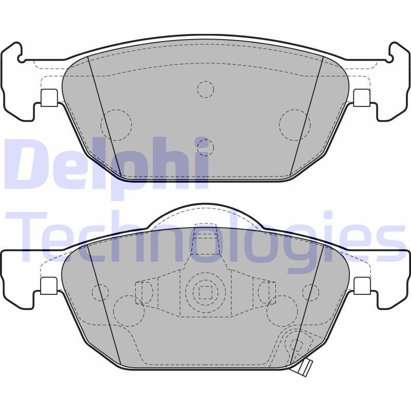 DELPHI  LP2144 Bremsbelagsatz, Scheibenbremse Höhe 2: 63mm, Höhe: 55mm, Dicke/Stärke 1: 18mm, Dicke/Stärke 2: 18mm