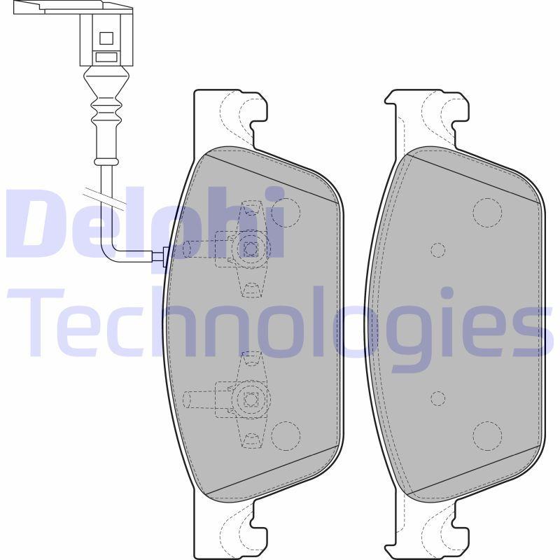 DELPHI  LP2199 Bremsbelagsatz, Scheibenbremse Höhe 2: 75mm, Höhe: 75mm, Dicke/Stärke 1: 18mm, Dicke/Stärke 2: 18mm