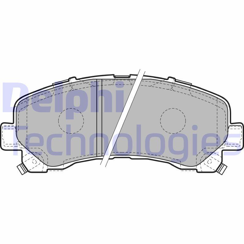DELPHI  LP2229 Bremsbelagsatz, Scheibenbremse Höhe 2: 61mm, Höhe: 61mm, Dicke/Stärke 1: 17mm, Dicke/Stärke 2: 17mm