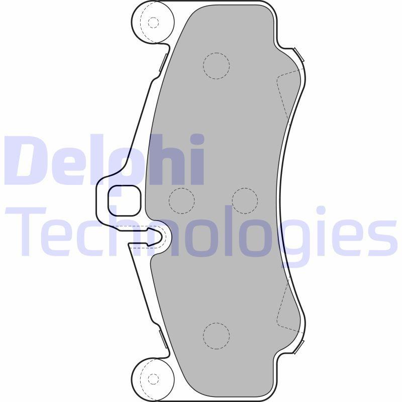 DELPHI  LP2232 Bremsbelagsatz, Scheibenbremse Höhe 2: 99mm, Höhe: 99mm, Dicke/Stärke 1: 17mm, Dicke/Stärke 2: 17mm