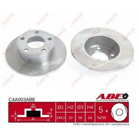 ABE Bremsscheibe C4A003ABE für AUDI A6 (4B2, C5) 2.4 ab Baujahr 07.1998, 136 PS