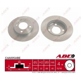 ABE Bremsscheibe C4A005ABE für AUDI COUPE (89, 8B) 2.3 quattro ab Baujahr 05.1990, 134 PS