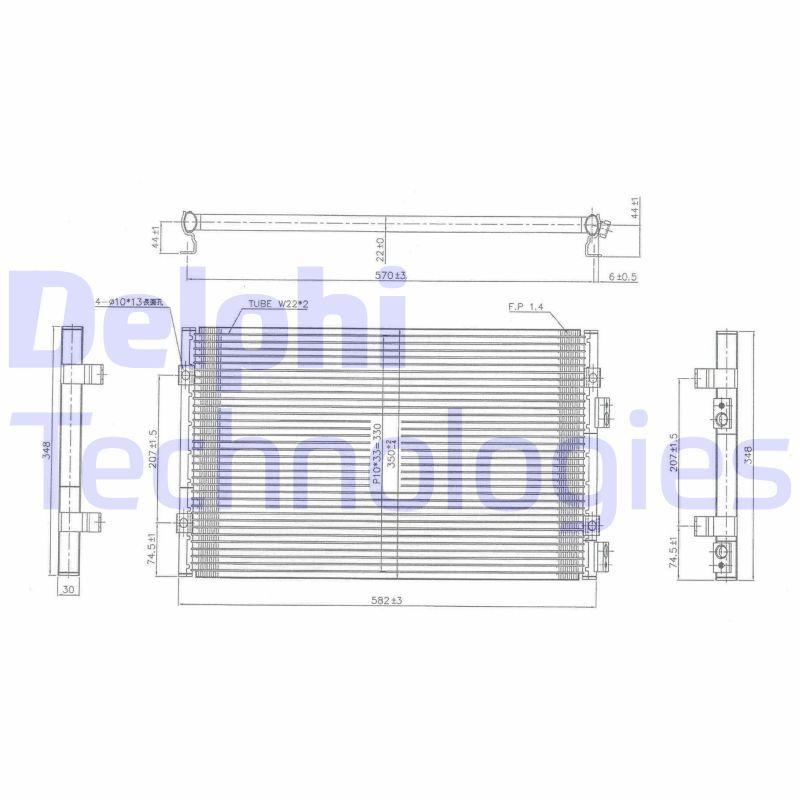 DELPHI  TSP0225486 Kondensator, Klimaanlage