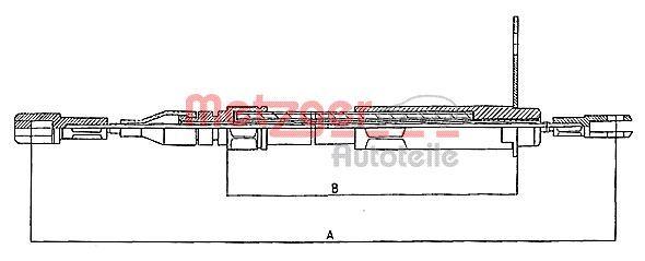 METZGER  10.943 Cable, parking brake Length: 1060/808mm