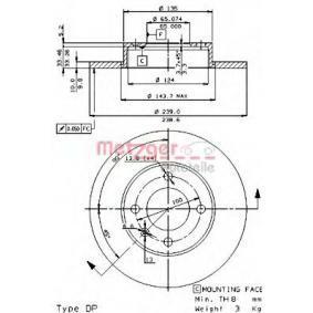 Bremsscheibe Bremsscheibendicke: 10mm, Lochanzahl: 4, Ø: 239mm mit OEM-Nummer 811 615 301 C