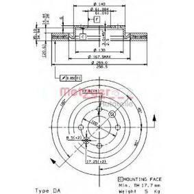 Bremsscheibe Bremsscheibendicke: 20,6mm, Lochanzahl: 4, Ø: 259mm mit OEM-Nummer 8671005976