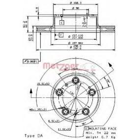 Bremsscheibe Bremsscheibendicke: 24mm, Lochanzahl: 5, Ø: 298mm mit OEM-Nummer 986 351 401 05