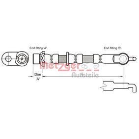 Bremsschlauch Länge: 527mm, Gewindemaß 1: F10x1, Gewindemaß 2: Banjo mit OEM-Nummer 90947-02A45