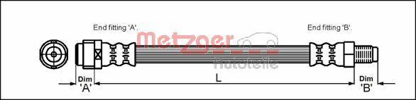 METZGER  4110581 Bremsschlauch Länge: 284mm, Gewindemaß 1: M10 x 1, Gewindemaß 2: F10 x 1
