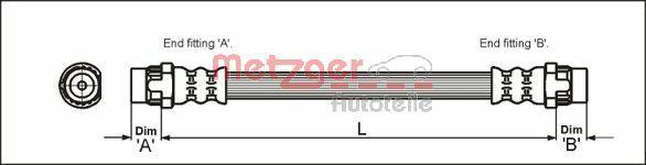 METZGER  4111166 Bremsschlauch Länge: 165mm, Gewindemaß 1: F10 x 1, Gewindemaß 2: F10 x 1