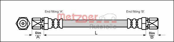 METZGER  4111353 Bremsschlauch Länge: 335mm, Gewindemaß 1: F10 x 1