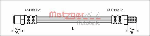 METZGER  4112301 Bremsschlauch Länge: 305mm, Gewindemaß 1: M10 x 1, Gewindemaß 2: F10 x 1