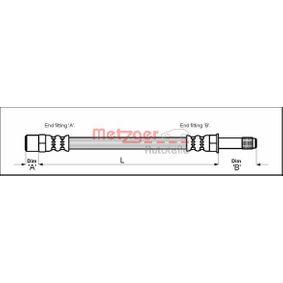 Bremsschlauch Länge: 143mm, Gewindemaß 1: M10 x 1, Gewindemaß 2: F10 x 1 mit OEM-Nummer 7M0 611 776 C