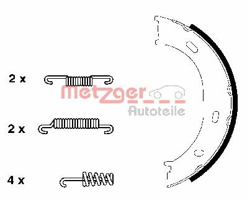 Brake Shoe Set, parking brake KR 955 METZGER KR 955 original quality