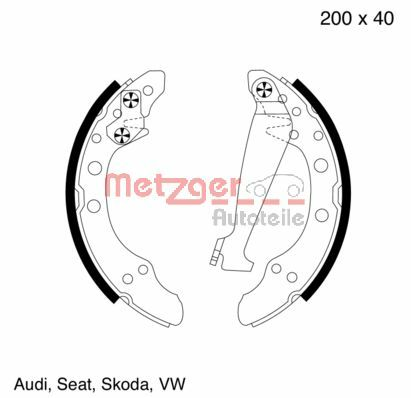 METZGER  MG 571 Brake Shoe Set Width: 40,0mm, Thickness: 4,8mm
