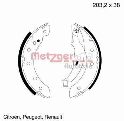 METZGER  MG 584 Brake Shoe Set Width: 38mm
