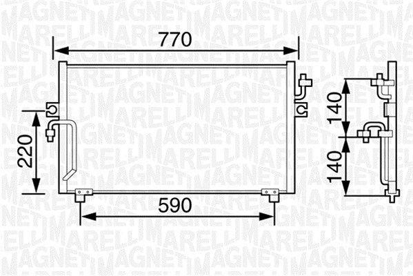 MAGNETI MARELLI  350203481000 Kondensator, Klimaanlage