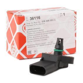 FEBI BILSTEIN Sensor, Ladedruck 36116 für AUDI A4 (8E2, B6) 1.9 TDI ab Baujahr 11.2000, 130 PS