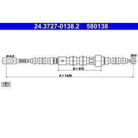 ATE Seilzug, Feststellbremse 24.3727-0138.2 für AUDI 100 (44, 44Q, C3) 1.8 ab Baujahr 02.1986, 88 PS