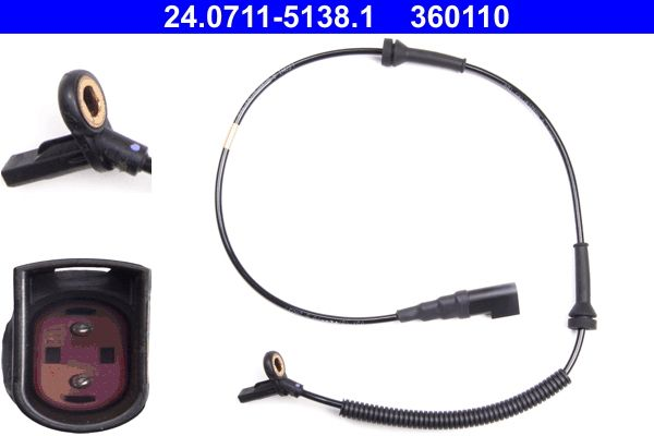 ATE  24.0711-5138.1 Sensor, Raddrehzahl Länge: 775mm