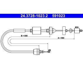 Seilzug, Kupplungsbetätigung 24.3728-1023.2 CLIO 2 (BB0/1/2, CB0/1/2) 1.5 dCi Bj 2020