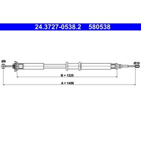 Cable, parking brake 24.3727-0538.2 PUNTO (188) 1.2 16V 80 MY 2002