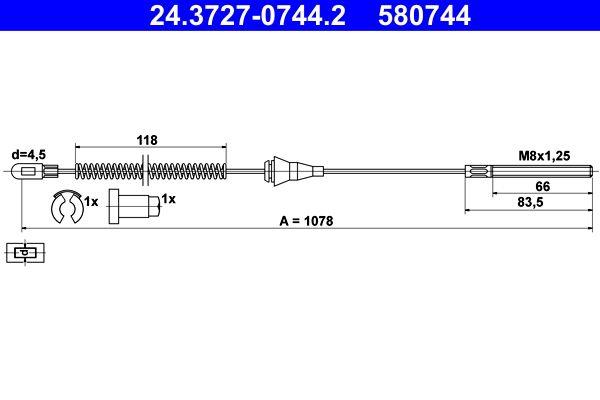 ATE  24.3727-0744.2 Seilzug, Feststellbremse Länge: 1078mm, Länge: 1078mm, Länge: 1078mm, Länge: 1078mm