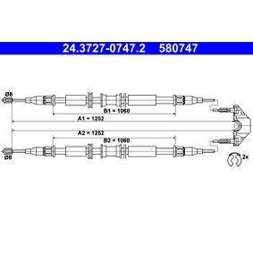 Seilzug, Feststellbremse Länge: 1252mm, Länge: 1252mm, Länge: 1252mm, Länge: 1252mm mit OEM-Nummer 5 22 656