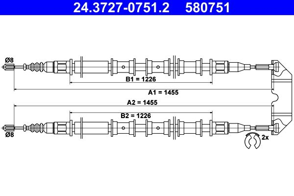 ATE  24.3727-0751.2 Seilzug, Feststellbremse Länge: 1455mm, Länge: 1455mm, Länge: 1455mm, Länge: 1455mm
