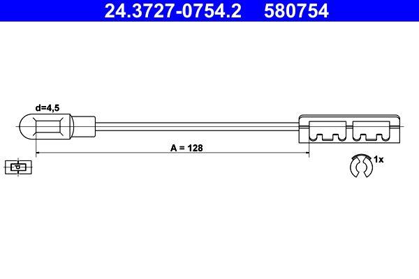ATE  24.3727-0754.2 Seilzug, Feststellbremse Länge: 128mm, Länge: 128mm, Länge: 128mm, Länge: 128mm