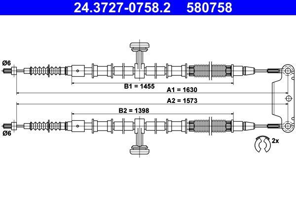 ATE  24.3727-0758.2 Seilzug, Feststellbremse Länge: 1630mm, Länge: 1630mm, Länge: 1630mm, Länge: 1573mm