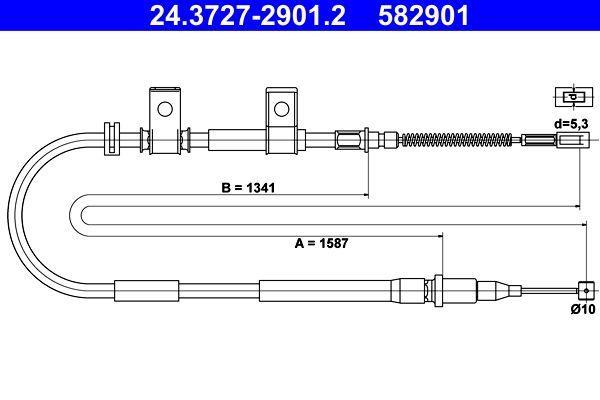 ATE  24.3727-2901.2 Seilzug, Feststellbremse Länge: 1587mm, Länge: 1587mm, Länge: 1587mm, Länge: 1587mm