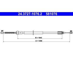 Renault Twingo 2 1.2 (CN0D) Handbremsseil ATE 24.3727-1076.2 (1.2 Benzin 2010 D7F 800)