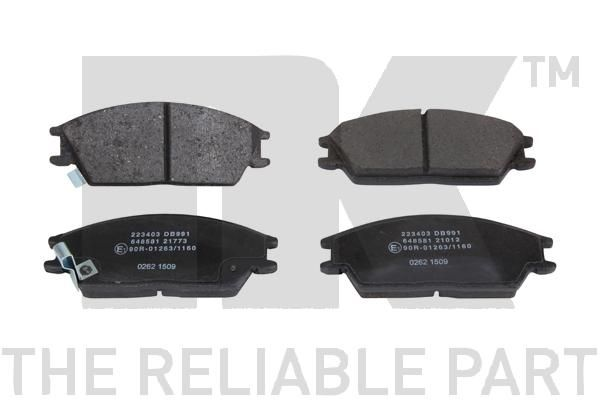 NK  223403 Bremsbelagsatz, Scheibenbremse Breite 1: 127,3mm, Höhe 1: 51,2mm, Dicke/Stärke 1: 14,7mm